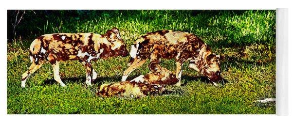 African Wild Dog Family Yoga Mat