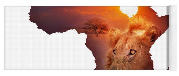 African Wildlife Map Yoga Mat