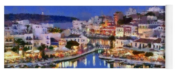 Painting Of Agios Nikolaos City Yoga Mat