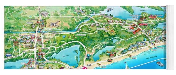Alabama Beach Illustrated Map Yoga Mat