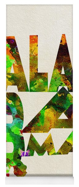 Alabama Typographic Watercolor Map Yoga Mat