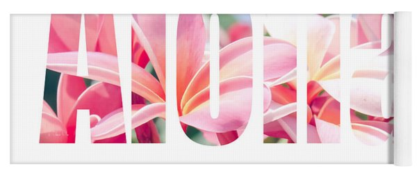 Aloha Tropical Plumeria Typography Yoga Mat