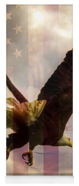 American Bald Eagle In Flight Wtih Flag Yoga Mat