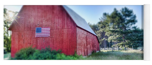 Yoga Mat featuring the photograph American Barn by Sebastian Musial