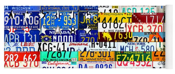 American Flag Scrap Metal Recycled License Plate Art Of The 50 States Yoga Mat