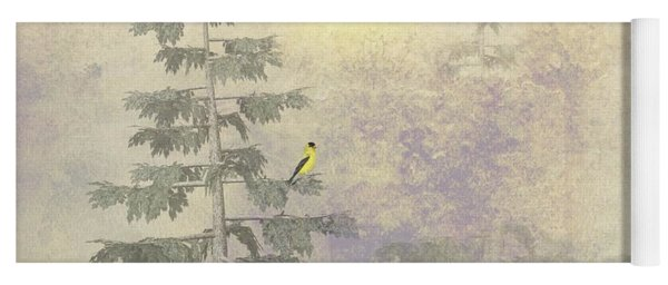 Yoga Mat featuring the digital art American Goldfinch Morning Mist  by David Dehner