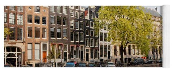 Amsterdam Houses Along The Singel Canal Yoga Mat