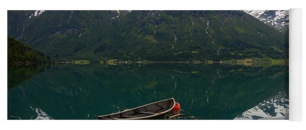 An Old Boat And Some Mountains With Reflection In The Water Yoga Mat