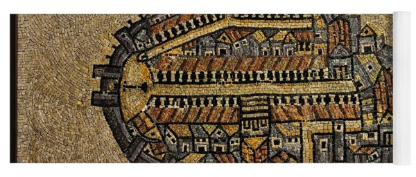 Ancient Jerusalem Mosaic Map Color Framed Yoga Mat