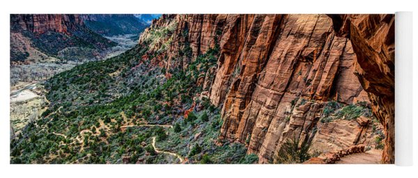 Angels Landing Trail From High Above Zion Canyon Floor Yoga Mat