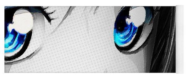 Anime Girl Eyes 2 Black And White Blue Eyes Yoga Mat