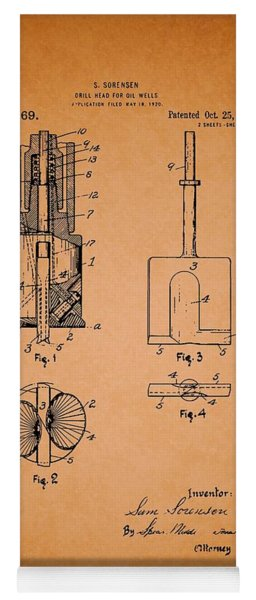 Antique Drill Head For Oil Wells Patent Yoga Mat