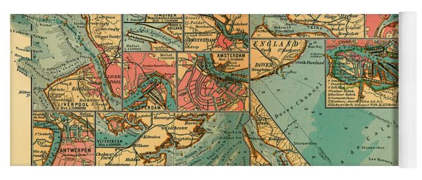 Antique Map Of The Baltic And North Sea Ports  Yoga Mat
