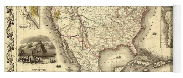 Antique North America Map Yoga Mat