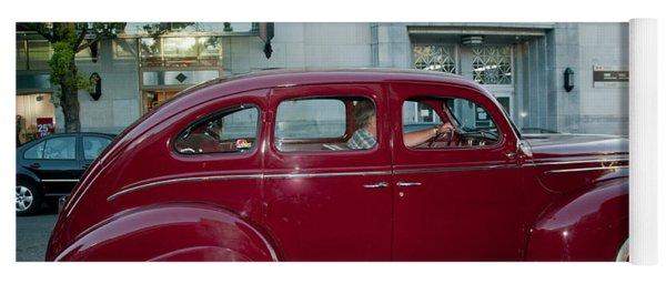 Antique Red Car Yoga Mat