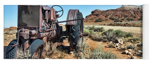Yoga Mat featuring the photograph Antique Tractor by Gary Beeler