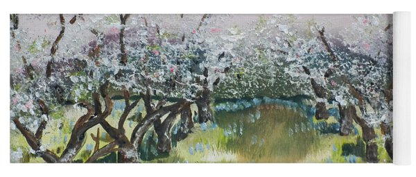 Yoga Mat featuring the painting Apple Blossoms In Ellijay -apple Trees - Blooming by Jan Dappen