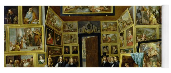 Archduke Leopold Wilhelm 1614-61 In His Picture Gallery, C.1647 Oil On Copper Yoga Mat