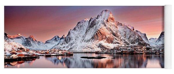 Arctic Dawn Over Reine Village Yoga Mat