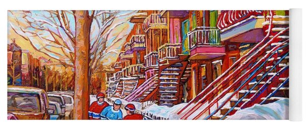Art Of Montreal Staircases In Winter Street Hockey Game City Streetscenes By Carole Spandau Yoga Mat