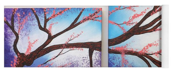 Asian Bloom Triptych 1 2 Yoga Mat