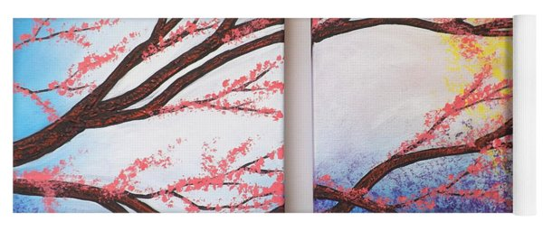 Asian Bloom Triptych 2 3 Yoga Mat