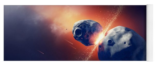 Asteroids Collide And Explode  In Space Yoga Mat