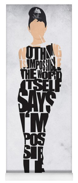 Audrey Hepburn Typography Poster Yoga Mat