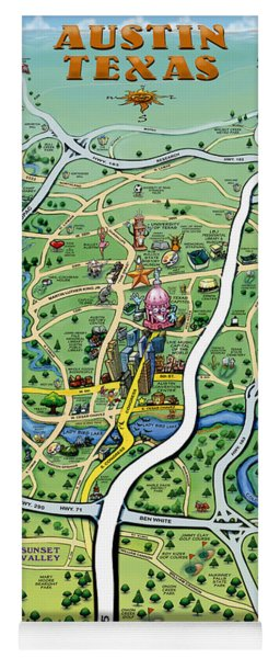 Austin Tx Cartoon Map Yoga Mat