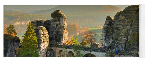 Autumn Afternoon On The Bastei Bridge Yoga Mat