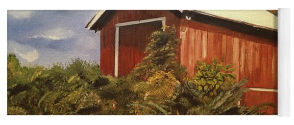 Yoga Mat featuring the painting Autumn - Barn - Ohio by Jan Dappen