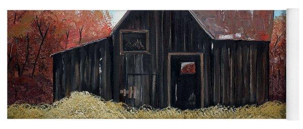 Yoga Mat featuring the painting Autumn - Barn -orange by Jan Dappen