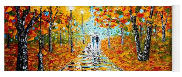 Autumn Beauty Original Palette Knife Painting Yoga Mat