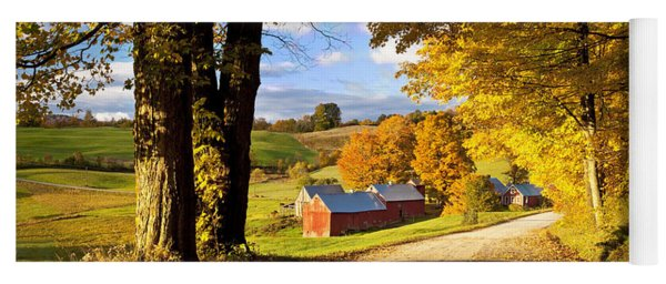 Yoga Mat featuring the photograph Autumn Farm In Vermont by Brian Jannsen