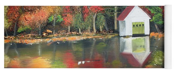 Yoga Mat featuring the painting Autumn - Lake - Reflecton by Jan Dappen