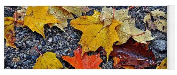 Autumn Leaves In Rain Yoga Mat