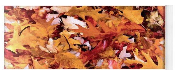 Autumn Leaves On The Ground In New Hampshire In Muted Colors Yoga Mat