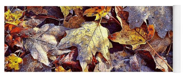 Autumn Leaves With Frost Yoga Mat