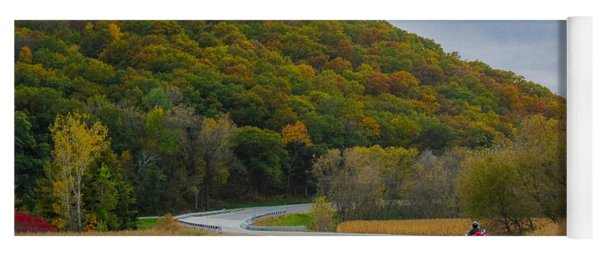 Yoga Mat featuring the photograph Autumn Motorcycle Rider / Orange by Patti Deters