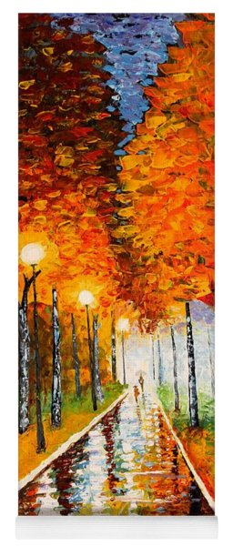 Autumn Park Night Lights Palette Knife Yoga Mat