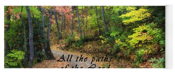 Autumn Path With Scripture Yoga Mat