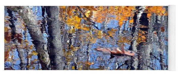 Autumn Reflection With Leaf Yoga Mat