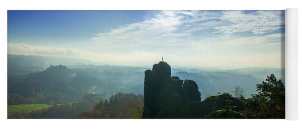 Autumn Sunrise In The Elbe Sandstone Mountains Yoga Mat