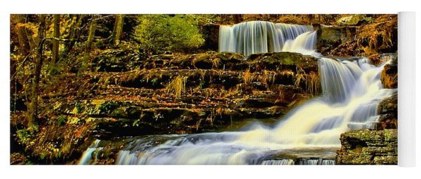 Autumn By The Waterfall Yoga Mat