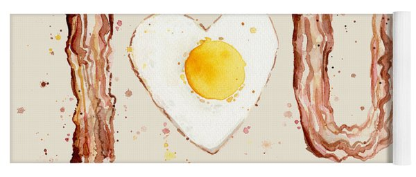 Bacon And Egg I Heart You Watercolor Yoga Mat