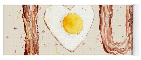 Bacon And Egg I Heart You Watercolor Yoga Mat