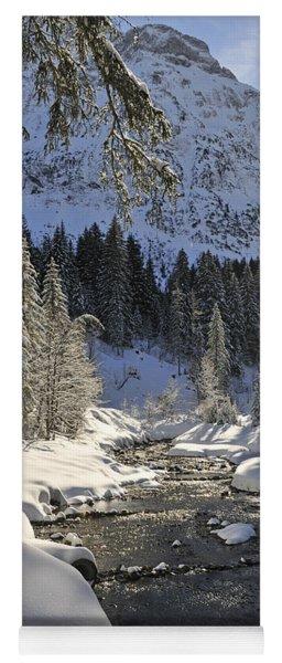 Baergunt Valley Kleinwalsertal Austria In Winter Yoga Mat