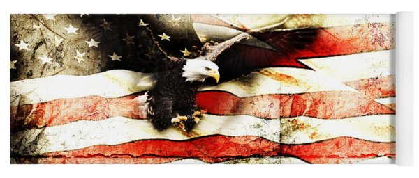 Bald Eagle Bursting Thru Flag Yoga Mat