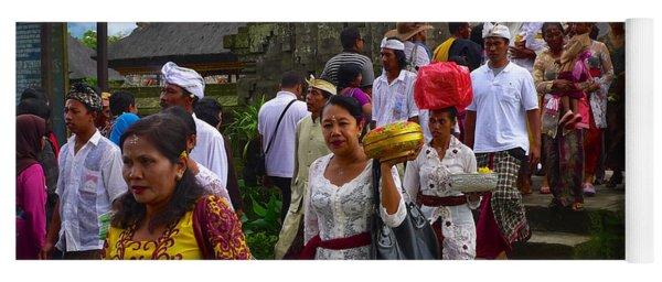 Balinese Leaving Beratan Temple Bali Yoga Mat