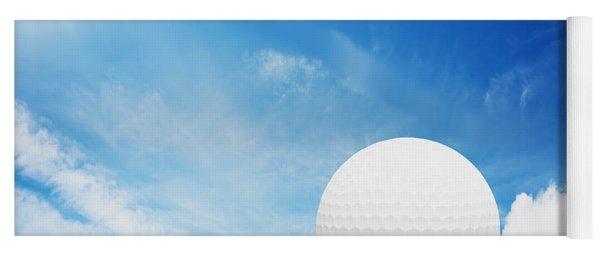 Ball On Tee On Green Golf Field Yoga Mat